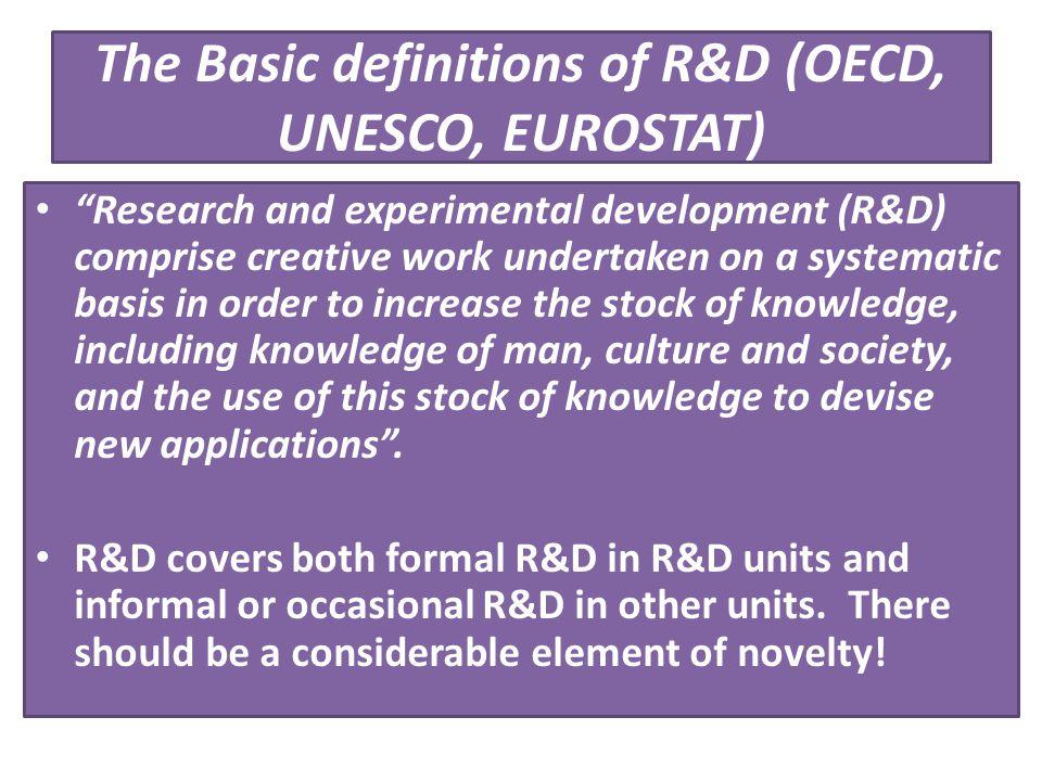 The Basic definitions of R&D (OECD, UNESCO, EUROSTAT)