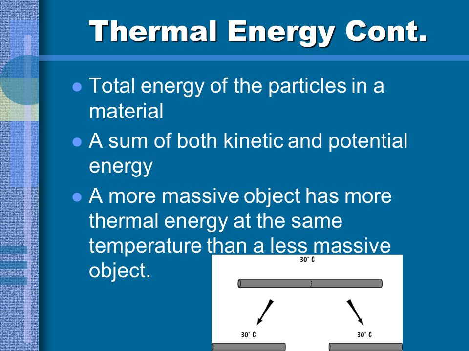 Thermal Energy Cont. Total energy of the particles in a material