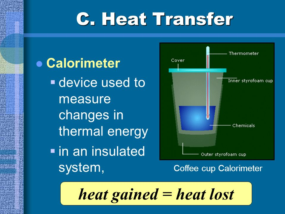 C. Heat Transfer heat gained = heat lost Calorimeter
