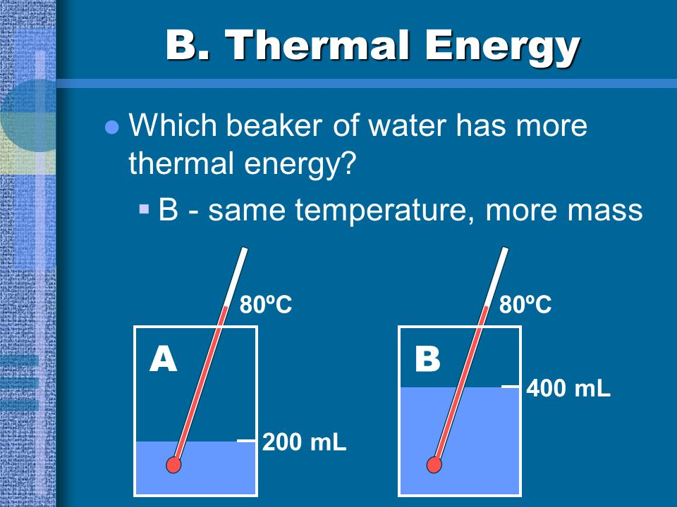 B. Thermal Energy A B Which beaker of water has more thermal energy