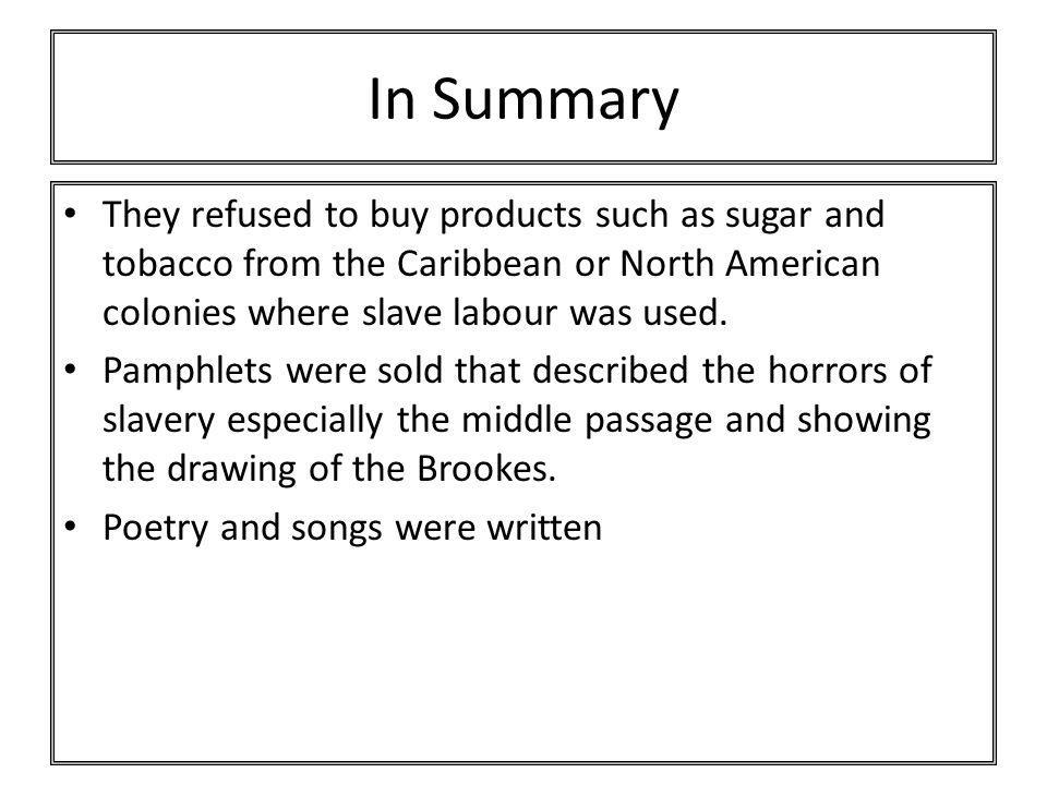 In Summary They refused to buy products such as sugar and tobacco from the Caribbean or North American colonies where slave labour was used.