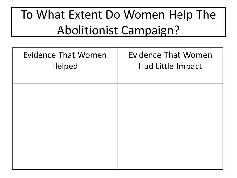 To What Extent Do Women Help The Abolitionist Campaign