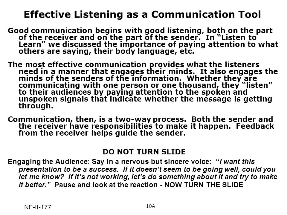 Effective Listening as a Communication Tool