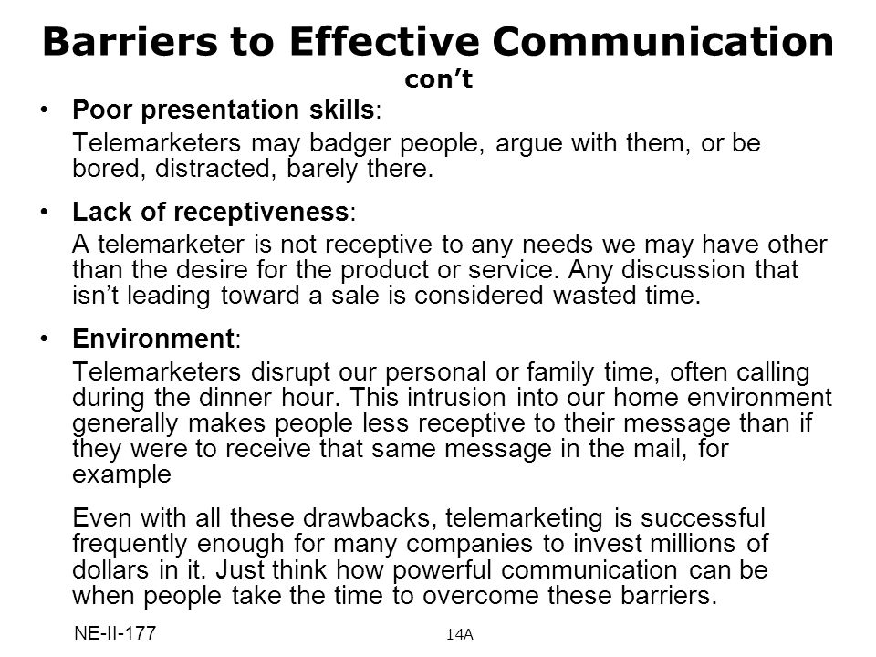 Barriers to Effective Communication con't