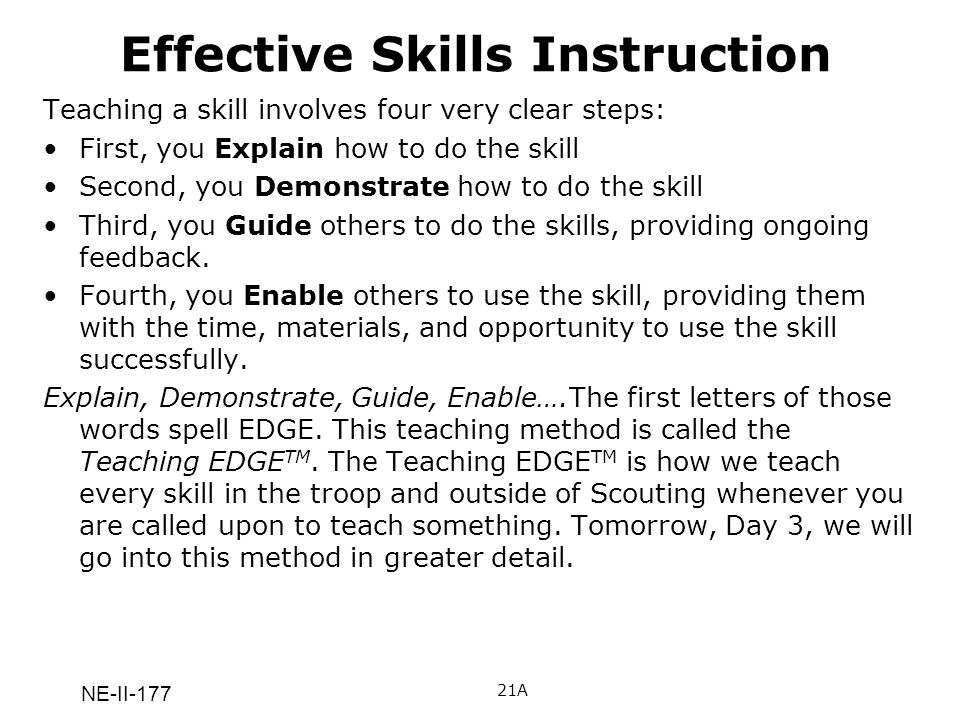 Effective Skills Instruction