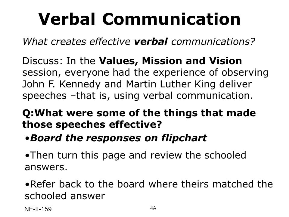 Verbal Communication What creates effective verbal communications