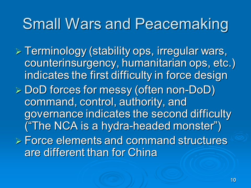 Small Wars and Peacemaking