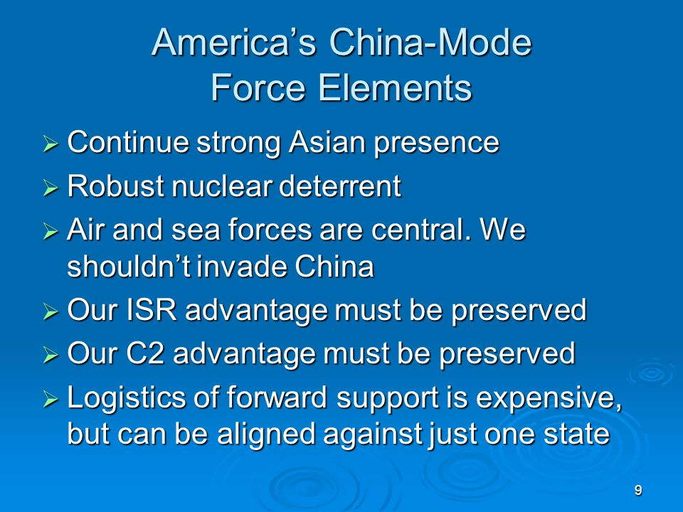 America's China-Mode Force Elements