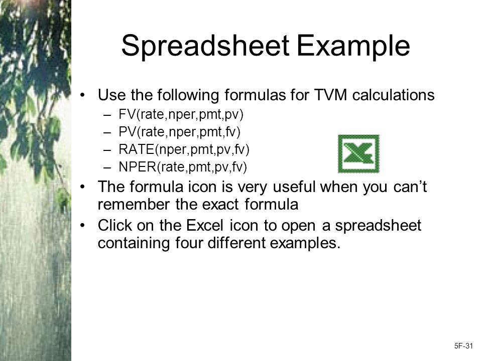 Spreadsheet Example Use the following formulas for TVM calculations