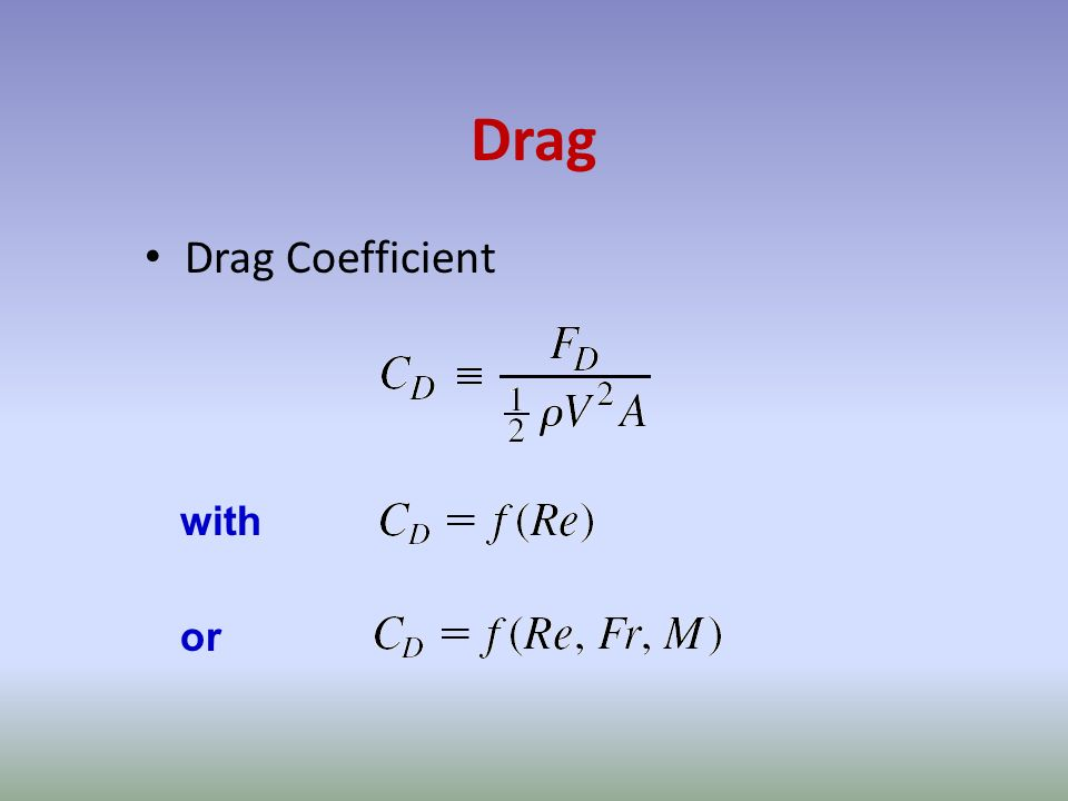 Drag Drag Coefficient with or