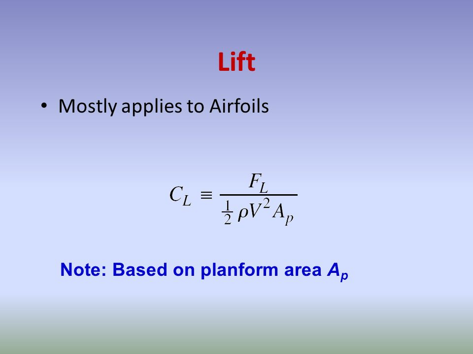 Lift Mostly applies to Airfoils Note: Based on planform area Ap