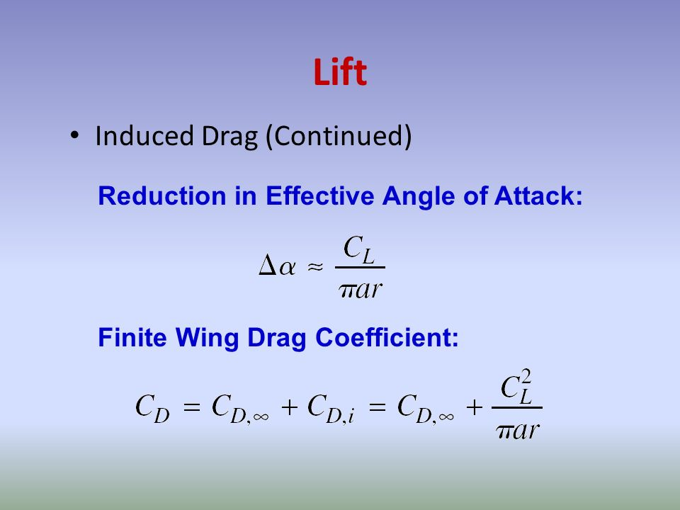 Lift Induced Drag (Continued) Reduction in Effective Angle of Attack: