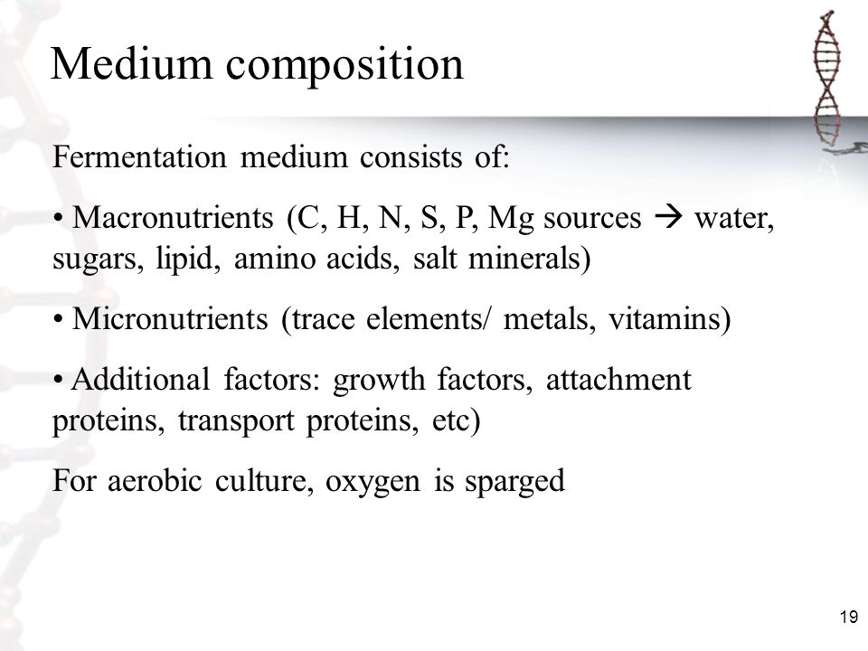 Medium composition Fermentation medium consists of: