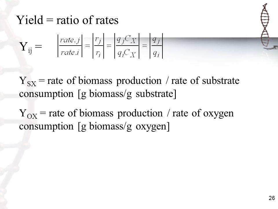 Yield = ratio of rates Yij =