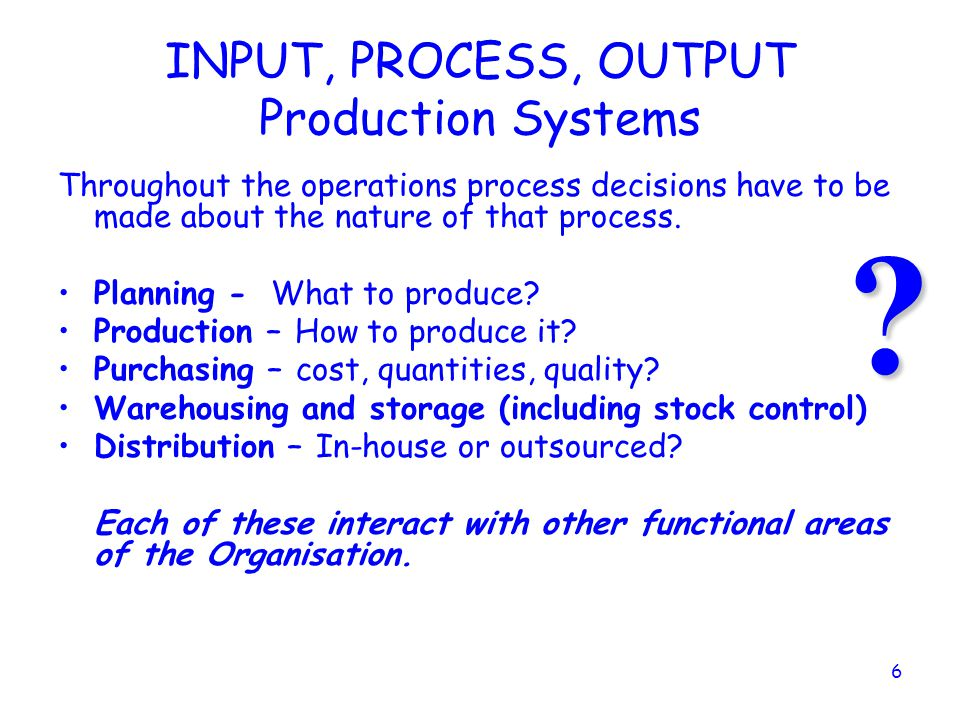 INPUT, PROCESS, OUTPUT Production Systems