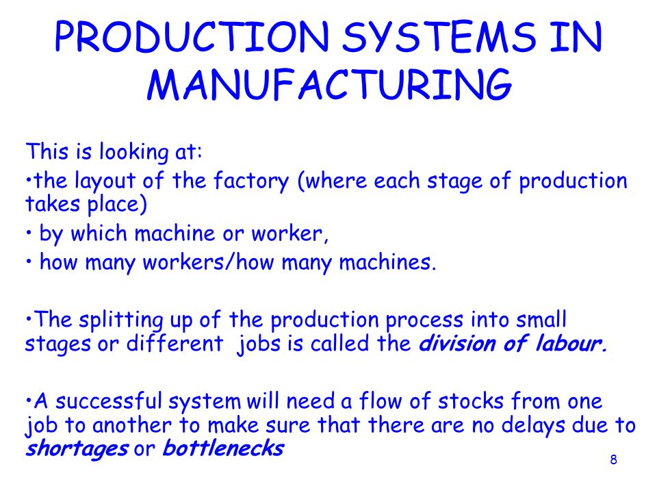 PRODUCTION SYSTEMS IN MANUFACTURING