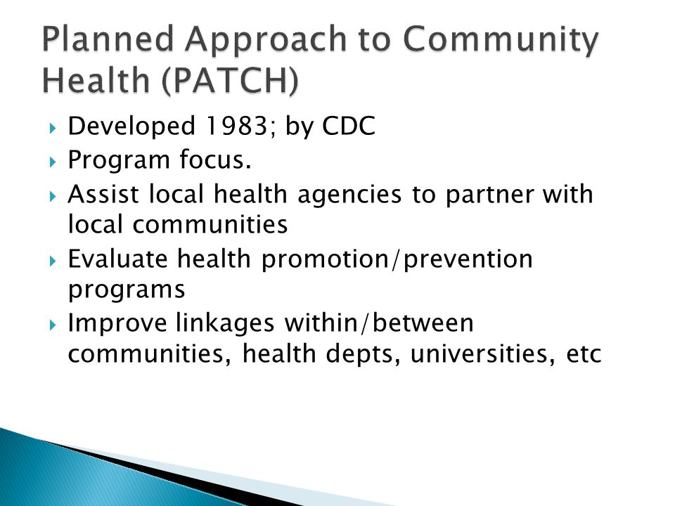 Planned Approach to Community Health (PATCH)