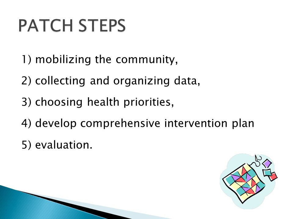PATCH STEPS 1) mobilizing the community,