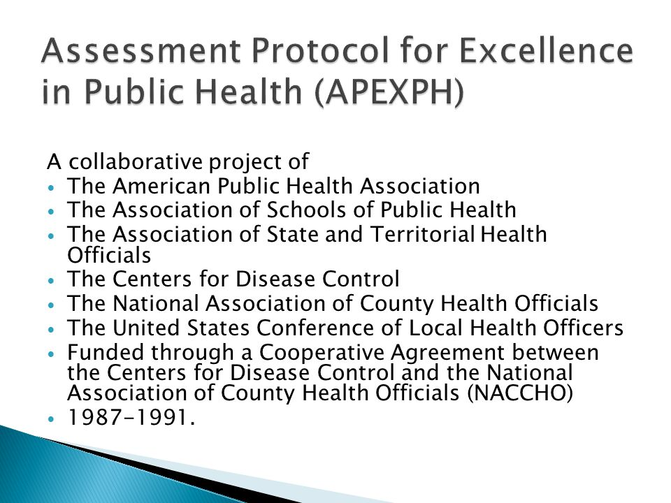 Assessment Protocol for Excellence in Public Health (APEXPH)