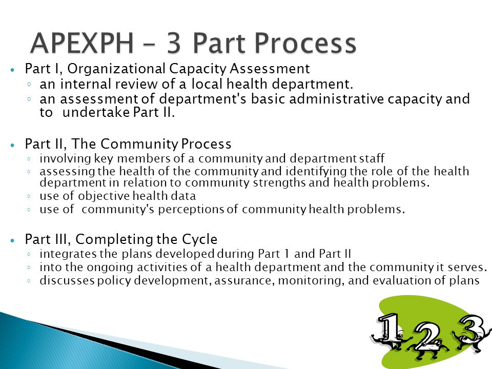 APEXPH – 3 Part Process Part I, Organizational Capacity Assessment