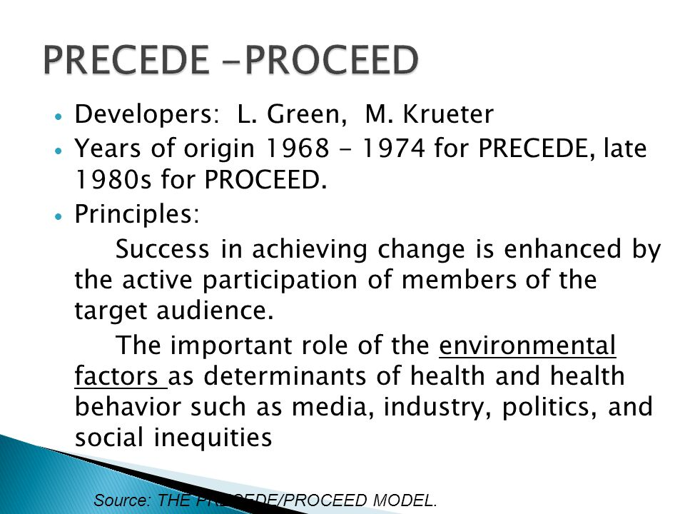 PRECEDE -PROCEED Developers: L. Green, M. Krueter