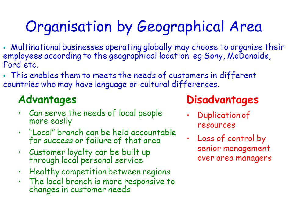 Organisation by Geographical Area