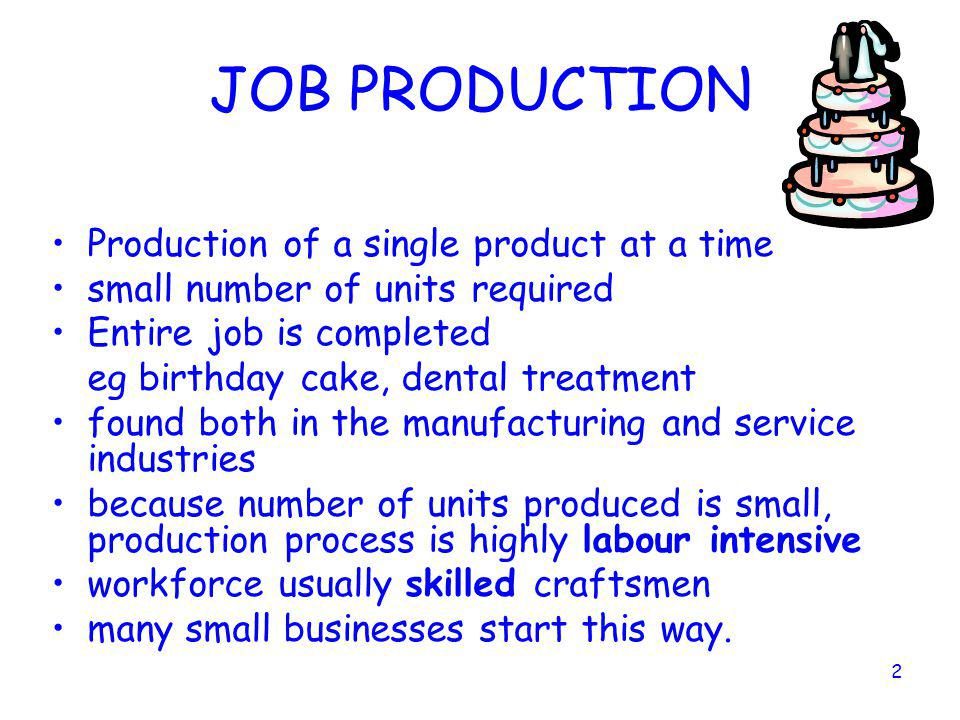 JOB PRODUCTION Production of a single product at a time
