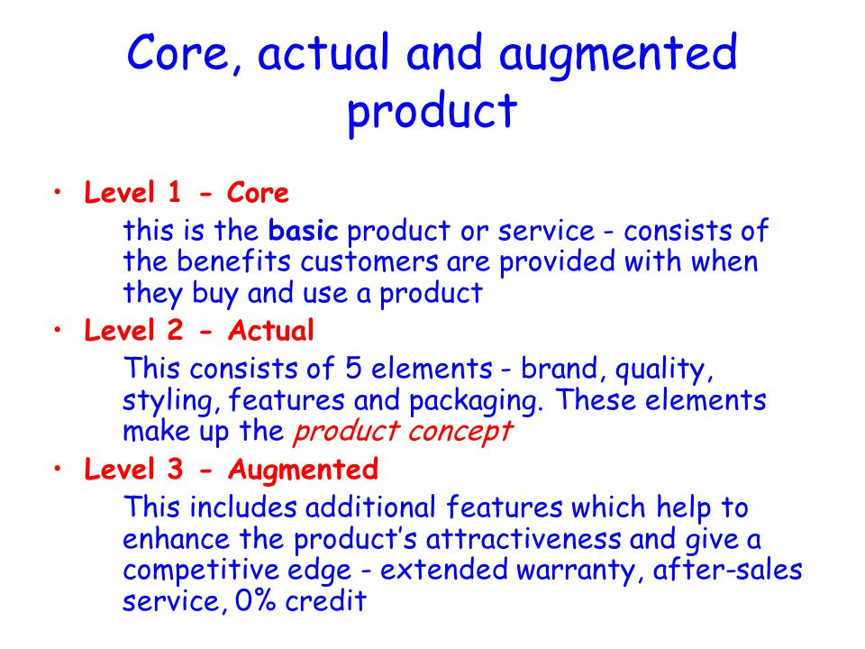 Answer – Three Levels of a Product