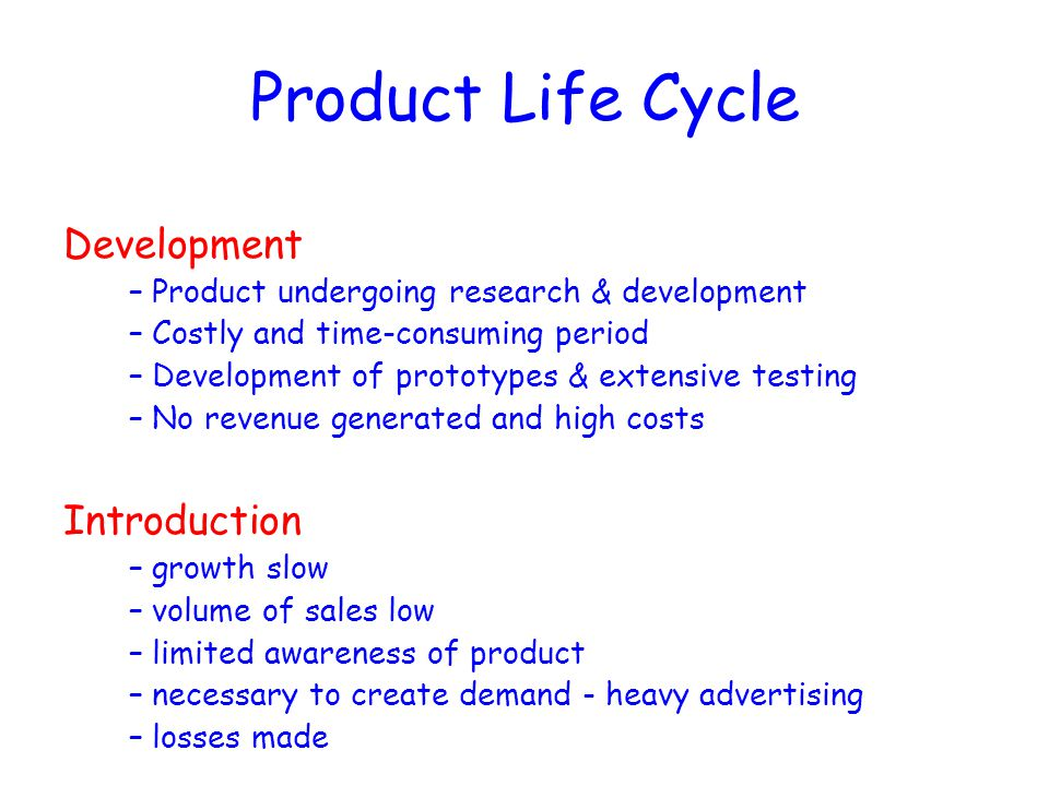Product Life Cycle Development Introduction