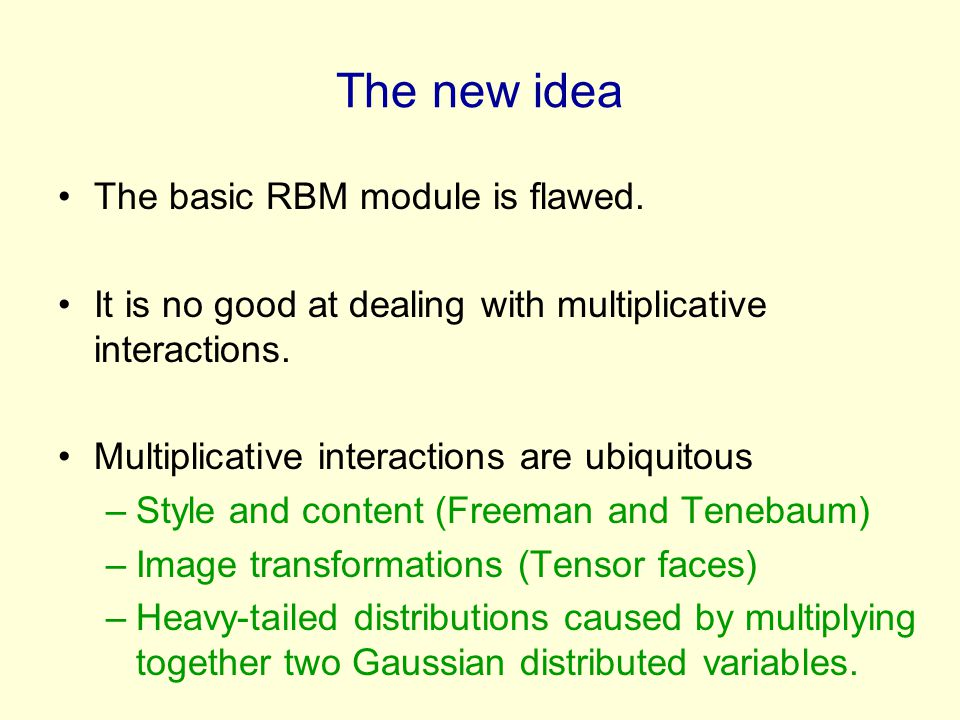 The new idea The basic RBM module is flawed.