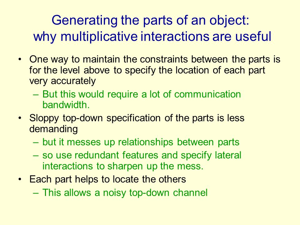 Generating the parts of an object: why multiplicative interactions are useful