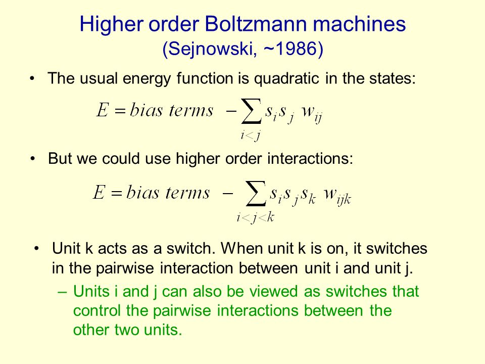 Higher order Boltzmann machines (Sejnowski, ~1986)