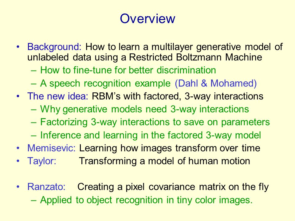 Overview Background: How to learn a multilayer generative model of unlabeled data using a Restricted Boltzmann Machine.