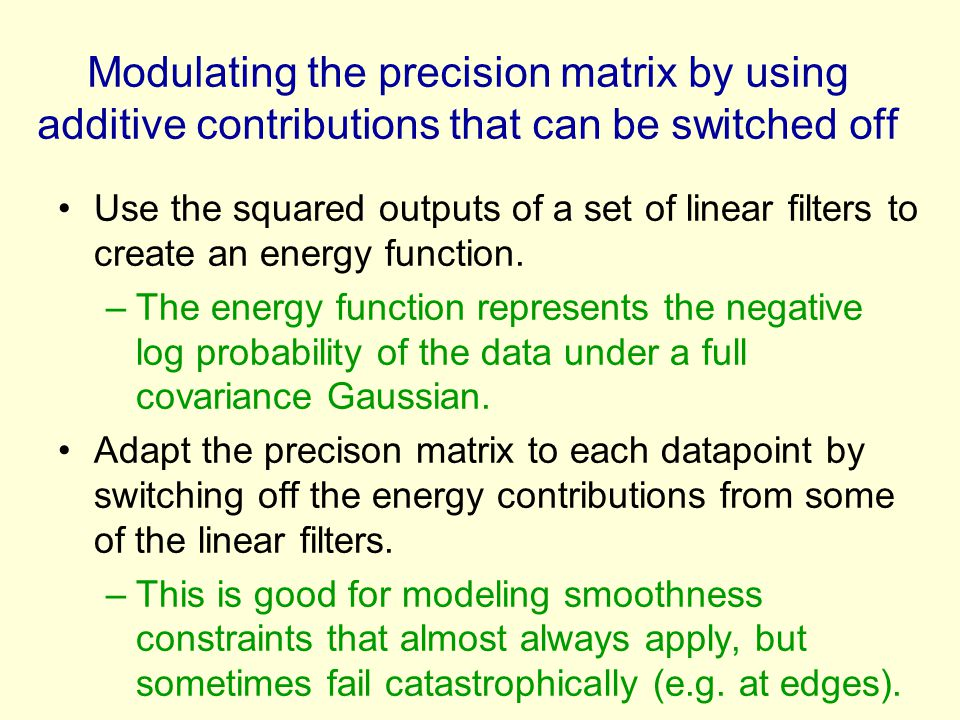 Modulating the precision matrix by using additive contributions that can be switched off