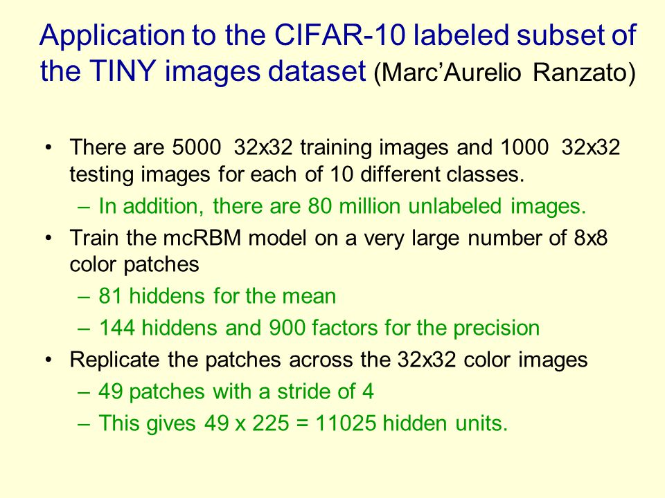 Application to the CIFAR-10 labeled subset of the TINY images dataset (Marc'Aurelio Ranzato)