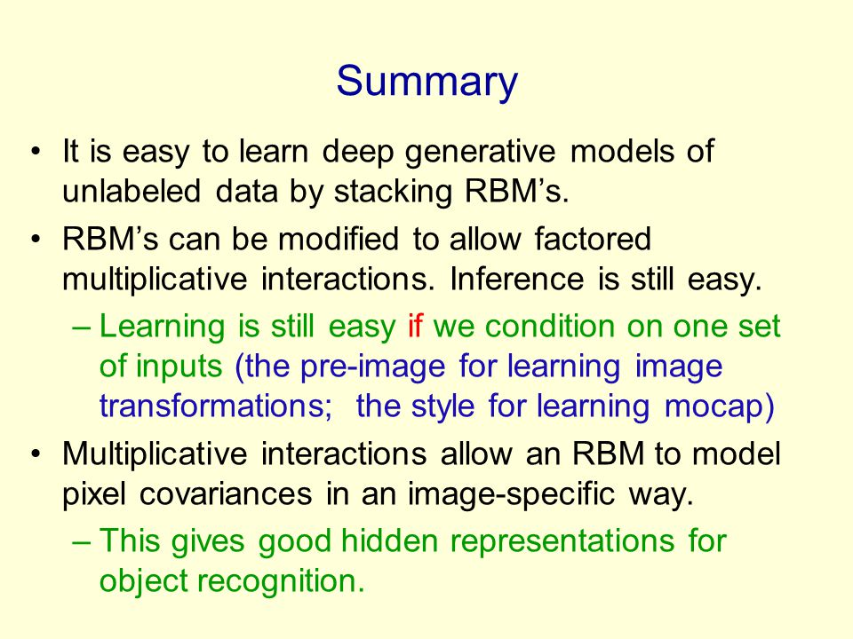Summary It is easy to learn deep generative models of unlabeled data by stacking RBM's.