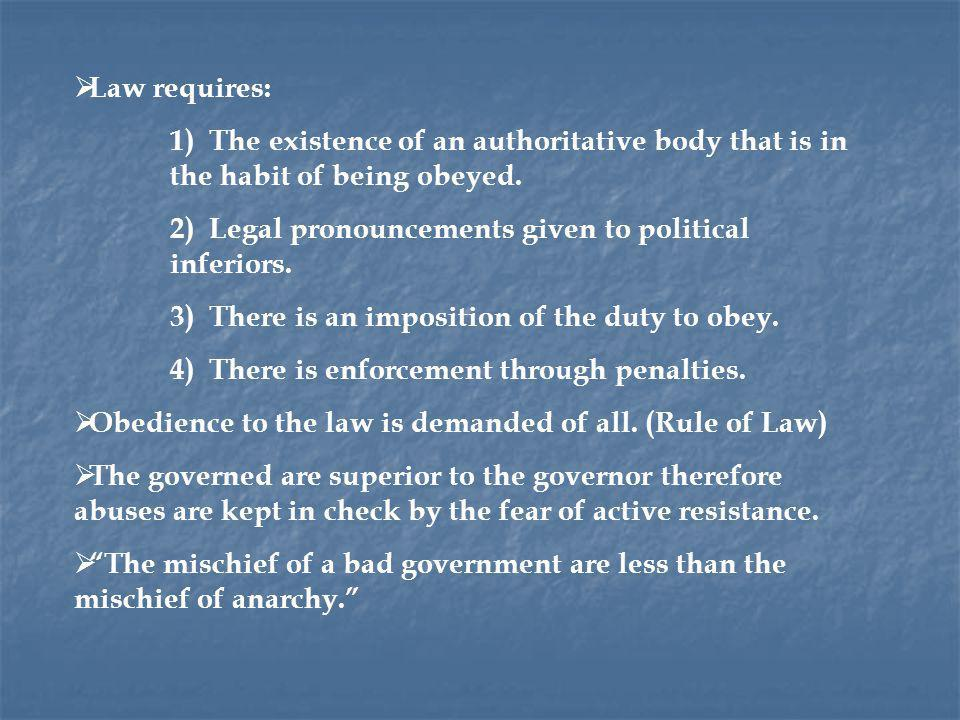 Law requires: 1) The existence of an authoritative body that is in the habit of being obeyed.