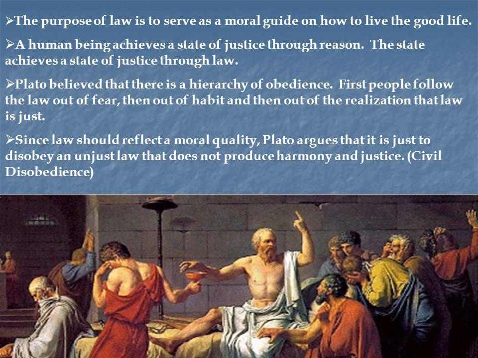 The purpose of law is to serve as a moral guide on how to live the good life.
