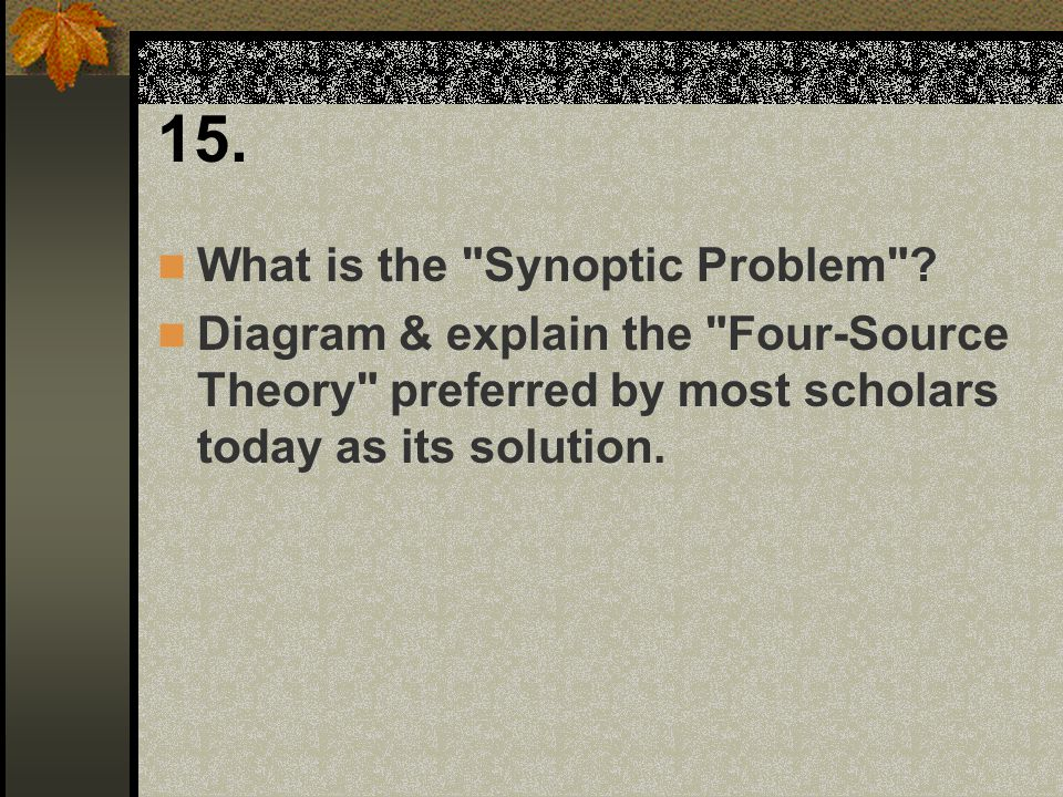 15. What is the Synoptic Problem