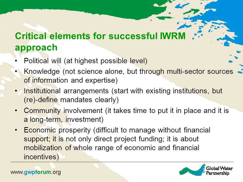 Critical elements for successful IWRM approach