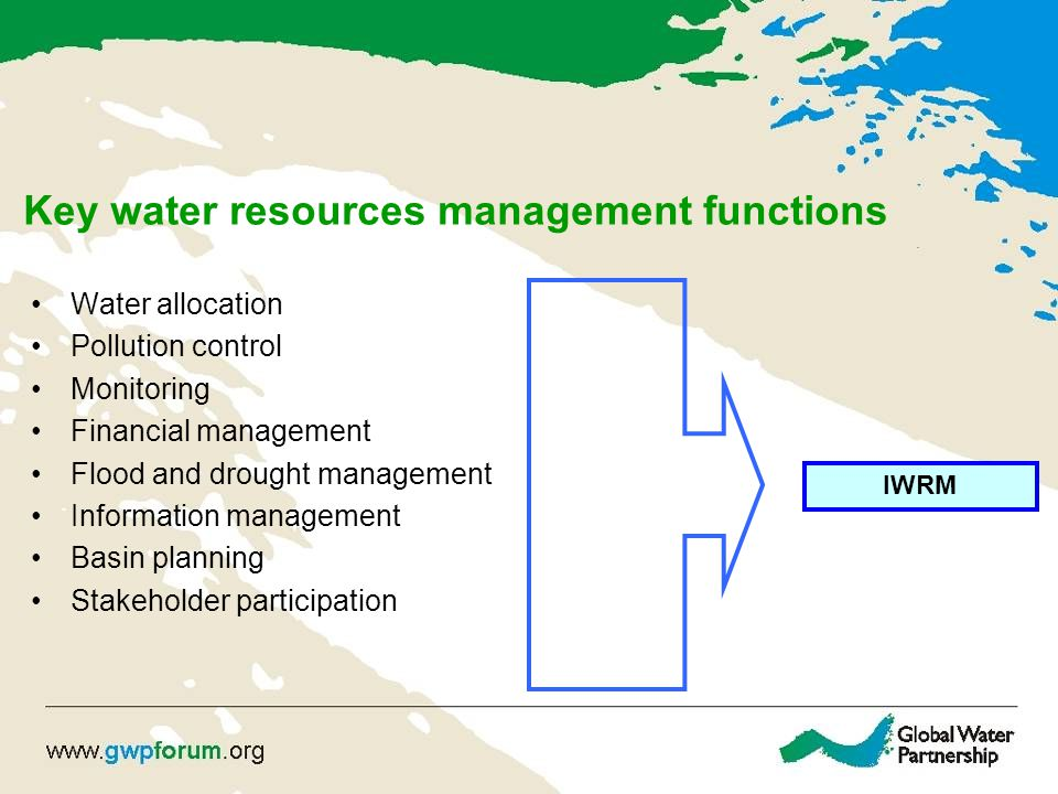 Key water resources management functions