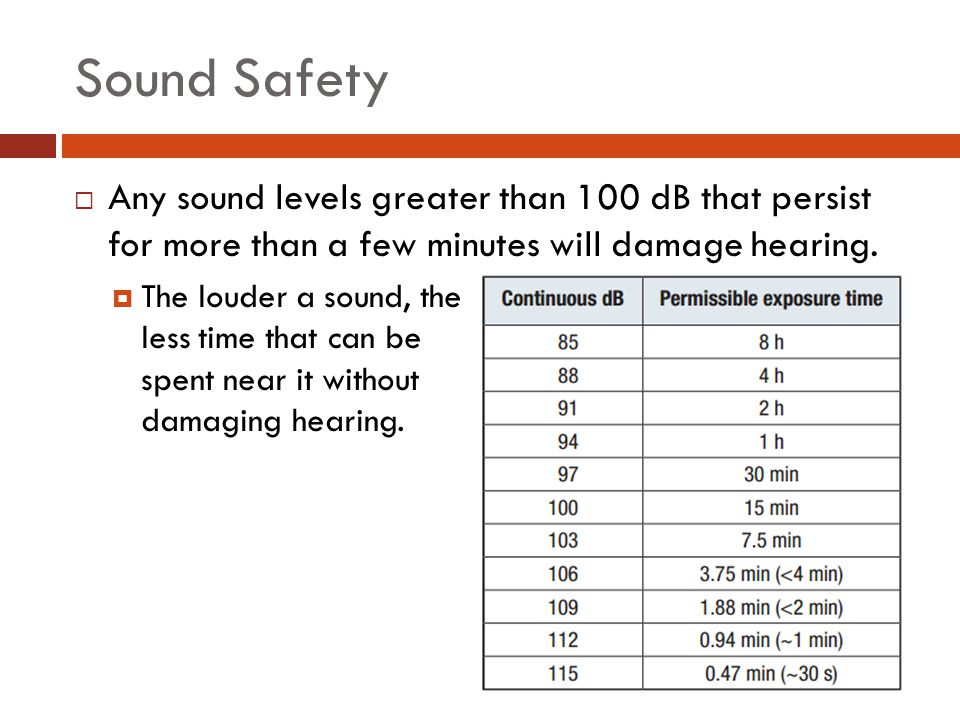 Sound Safety Any sound levels greater than 100 dB that persist for more than a few minutes will damage hearing.