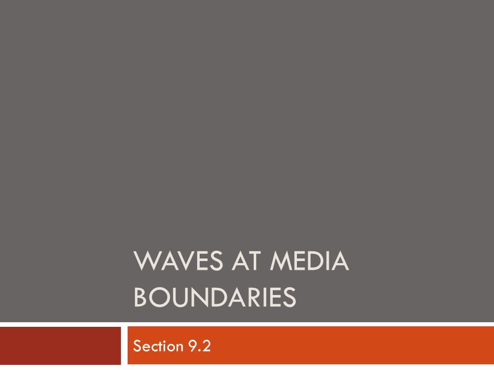Waves at Media Boundaries