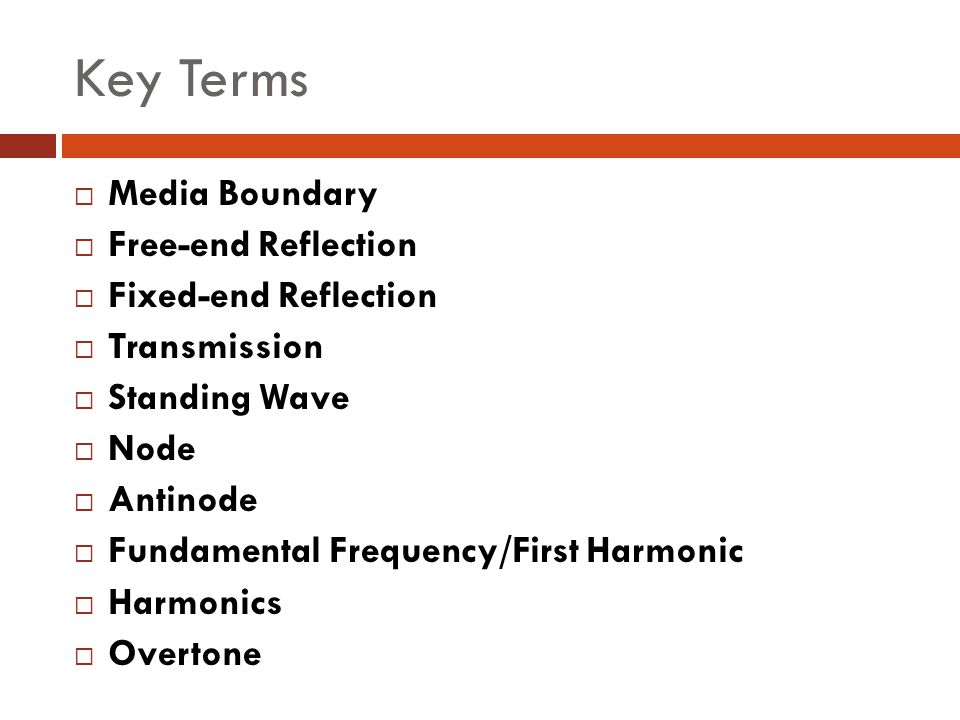 Key Terms Media Boundary Free-end Reflection Fixed-end Reflection