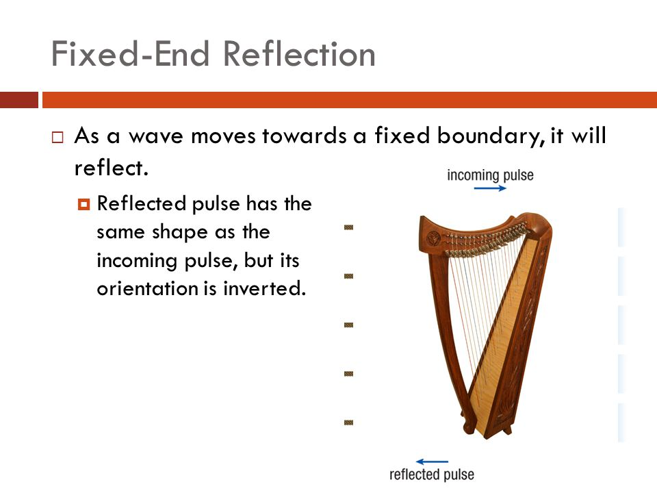 Fixed-End Reflection As a wave moves towards a fixed boundary, it will reflect.