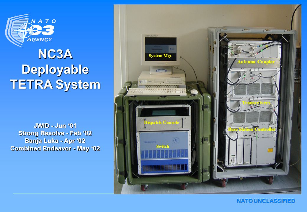 NC3A Deployable TETRA System JWID - Jun '01 Strong Resolve - Feb '02 Banja Luka - Apr '02 Combined Endeavor - May '02