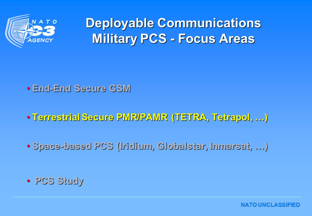 Deployable Communications Military PCS - Focus Areas