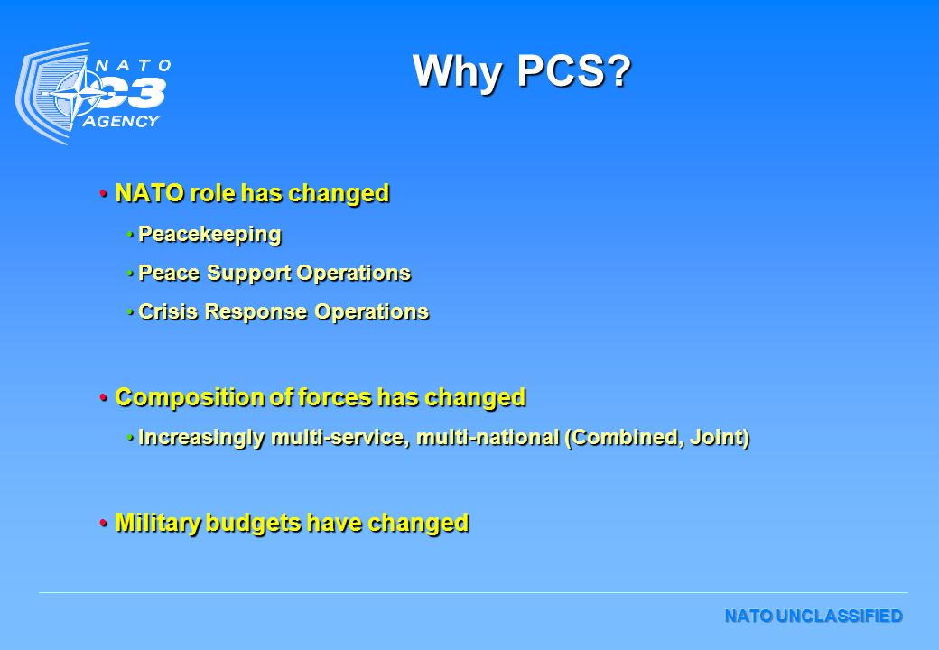 Why PCS NATO role has changed Composition of forces has changed