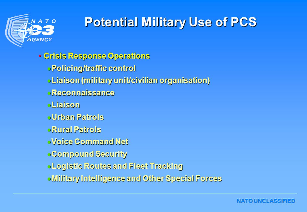 Potential Military Use of PCS