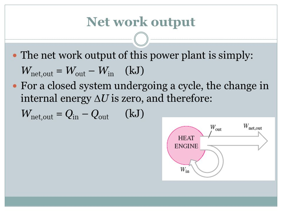 Net work output The net work output of this power plant is simply:
